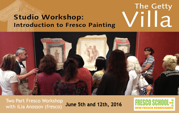 Roman Fresco - Introduction to Fresco Painting, fresco painting workshops by iLia Anossov at the Getty Villa, Malibu